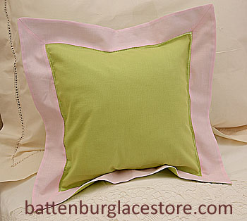Pillow Sham. MACAW GREEN with PINK LADY color border.12""